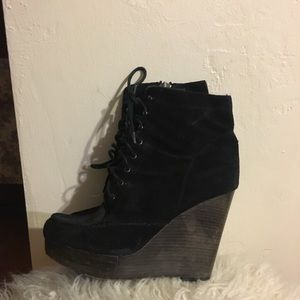Coach Liana Suede Wedge Ankle Boots Black 7.5